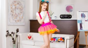teen girl vr in cute dress sucking lollipop